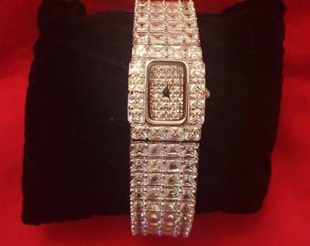Diamonelle Rhodium Plate Bracelet Watch