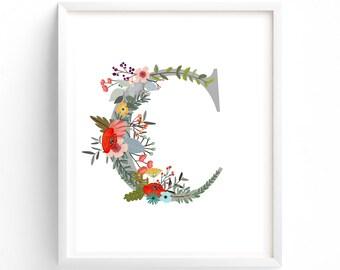 Letter C,  Floral, Printable Letter Monogram, Nursery Art. Art Prints, Baby Girl Nursery, Wall art Prints