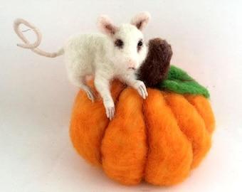 OOAK needle felted animal mouse and pumpkin Autumn Thanksgiving centerpiece decor