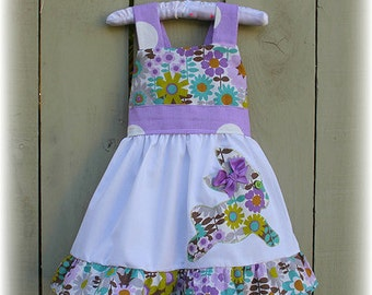 Custom Boutique Clothing  Easter Bunny Lavender Floral Jumper  Dress Girl 12m 18m 2T 3T 4T 5T 6 7 8