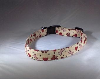 Dog Collar - Beige w/ Bones, Paw Prints and Hearts