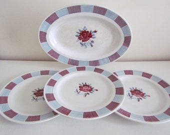 3 plates dinner Gilma and large flat oval St amand