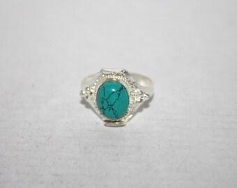 Turquoise ring, Silver ring, boho ring, tribal ring, gypsy ring, Tibetan ring, Turquoise jewelry, Hippie ring, Saddle Ring