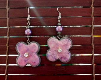 Pink Marbled Floral Spring Earrings (with rhinestone or without)