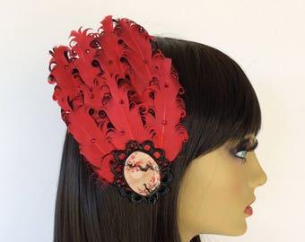 Red feather Fascinator, Black Fascinator, OOAK Fascinator, Great Gatsby, Dressy Fascinator, Unique Hair Clip, Japanese