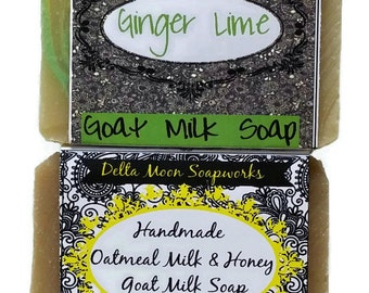 Oatmeal Milk & Honey / Ginger Lime Goat Milk Soaps, ready to ship, coworker gift, gift for her, honey, soaps,  shaving soap, ready to ship