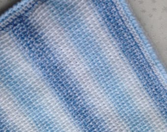 Hand crafted Tunisian crochet baby blanket in random white/blue shaded yarn, baby shower gift for boy, unique, immediate shipping available