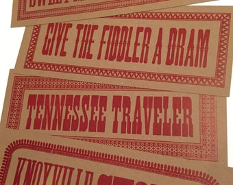 TENNESSEE SOUVENIR SIGNS Music lovers gift Magnolia print Vintage music 78 Record collectors prints Bear Family Records Hand printed poster