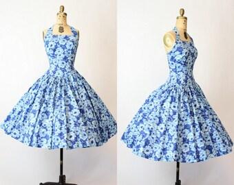 50s Halter Dress Blue Roses XS / 1950s Vintage Full Skirt Rose Dress / Joan Miller Dress