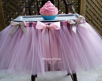 High Chair Tutu Skirt - Pink and Silver Party -  Pink and Silver 1st Birthday - High Chair Decoration - 1st Birthday Decoration