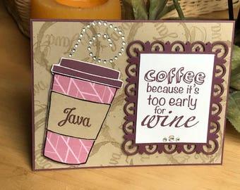 Coffee themed note card, coffee card