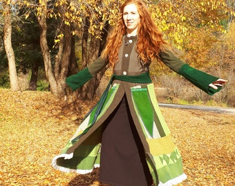 Green Lady Goddess wool Coat/ up cycled wool coat/ Kat wise style jacket/felted wool/ boiled wool/Bamboo velour lined hood/ lace trim/
