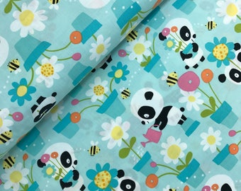 Garden Party in Aqua from the Pandas Collection by David Walker, Panda Fabric, Blue Pandas