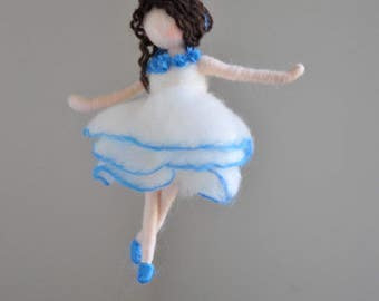 READY TO SHIP Blue  Ballerina  Felted Doll Wool Ornament    :  Dancing