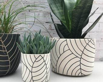 leaf carved large ceramic planter - ceramic container - utensil holder - wheel thrown planter - modern ceramic planter - made to order