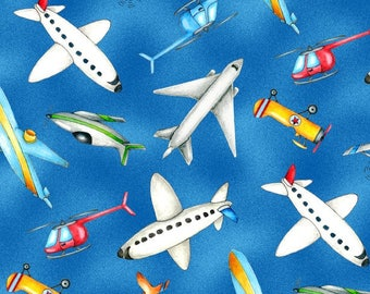 Tossed Airplanes Blue from Wilmington Prints 112cm (w) x 25cm