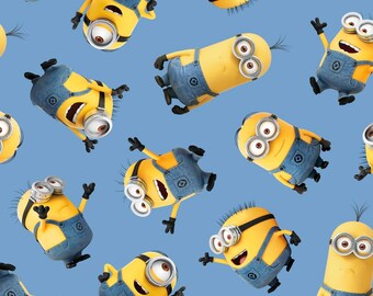 Minion Fabric - Tossed Minions from Quilting Treasures - 23990 Blue - Priced by the Half Yard