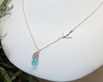 Aqua Chalcedony Necklace, Personalized Mother Necklace, Bridal With Leaf Necklace, Wedding Jewelry, Bird Jewelry, Great Gift
