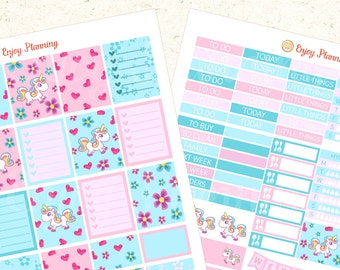 Unicorns Printable Planner Stickers + Gift Checklist planner Stickers Weekly planner Stickers set Erin Condren Life Planner stickers set