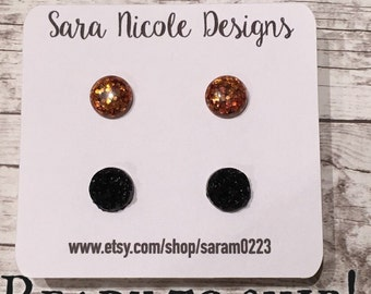 Ready to ship - SF Giants earring set - orange sparkly and black faux druzy / set of 2 pairs - Gamer babes - San Francisco