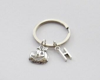 Halloween Keychain, Pumpkin Keychain, Jack O Lantern Keychain, Custom Initial Keychain, Halloween Pumpkin Key Ring, Halloween Key Ring