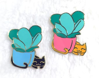 Cat Enamel Pin, Cat Lapel Pin, Succulent Enamel Pin, Plant Enamel Pin, Cat Pin, Cute Pin, Enamel Pin