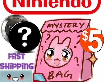 SURPRISE MYSTERY Grab Bag of buttons / Badges NINTENDO Theme !  6 for 5 dollars!  Fast Shipping!