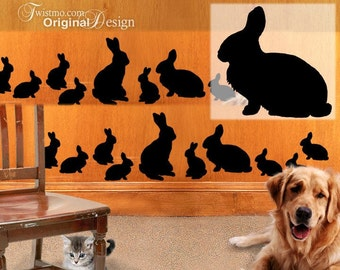 Animal Wall Decals: 20 Bunny Rabbit Silhouettes, 4 Adults, 16 Baby Bunnies -- for walls, Easter decorations or as laptop stickers