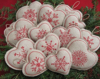 Embroidered Snowflake Linen Heart Christmas /Bowl fillers /Redwork/Farmhouse Xmas