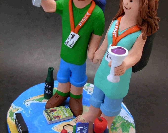 Traveller's and Backpacker's Wedding Cake Topper, Selfie Wedding Cake Topper, Hikers Wedding Cake Topper,International Travelling CakeTopper
