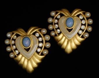 Heart Earrings Large and Fab by Liz Taylor for Avon Vintage