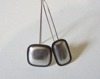Dark Edged Earrings oxidized silver puffy square and rectangle modern handfabricated drop earrings