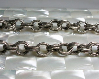 1 Foot Textured Large Double Open Link Chain Antique Silver Chunky Nickel Free Chain Brass chain GOTH Jewelry Supplies Jewellery Supplies