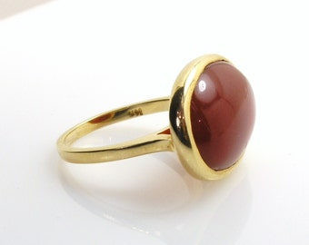 Carnelian Ring on Rose gold .