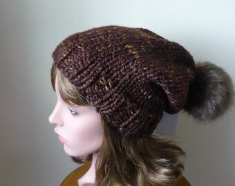 Knit Slouch Hat Faux Fur Pompom Warm Wool Blend Winter Hat in Sequoia with Brown Muskrat Pompom - Ready to Ship - Gift for Her