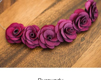 Elegant Bridal Fabric Rose Flower Jewelry Necklace Wearable Textile Unique Fabric handmade Wedding Bridesmaid Gift Mom