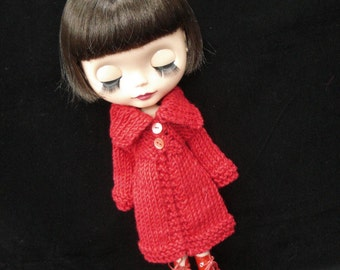 pdf knitting pattern -Slouchy Roll neck cardigan coat for Blythe