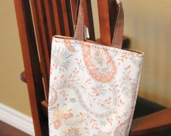 Fabric Tote (Reversible) - Salmon and Brown