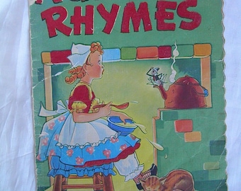 Nursery Rhymes Copyright 1941-1942 with Fantastic Illustrated Children/Baby/Toddler Book by Whitman Publishing