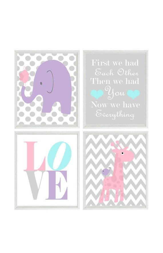 Vivero arte elefante jirafa Chevron lunares grabados rosa