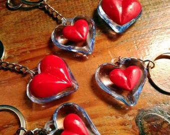 Legend of zelda keychain, heart piece keychain, piece of heart keyring