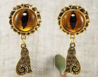 Earrings Cat Amber Eye (#6560)