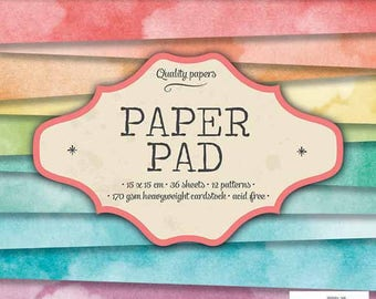Block paper 15 x 15 - 36feuilles - 170g - bow in sky - PPSL38