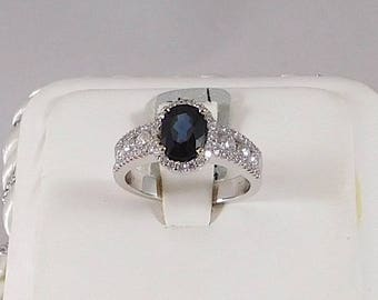 Sapphire and Diamond Ring. All Natural 1.62ct Sapphire with 0.70ct of Diamond