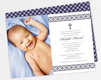 Photo Baptism Invitation, Christening Invitation, Boy Baptism Invitation, Printable Baptism Invitation, Invitation PDF, Modern, Christopher