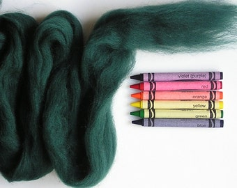 CORRIEDALE WOOL ROVING / Pine Green 1 ounce / corriedale sliver for needle felting, wet felting, nuno felting, doll hair, infant photography