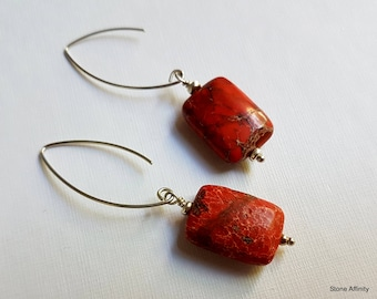 Red Jasper Rectangle, Sterling Silver, Dangle Earrings, Fish Hook
