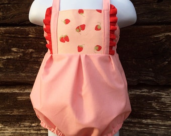 Strawberry outfit - strawberry birthday  - pink romper - baby strawberry outfit - strawberry party - pink romper - classic romper -