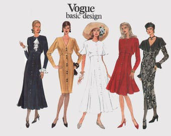 Vintage 1990s Fitted Midariff Flared Skirt Dress with Flutter Sleeves Sewing Pattern Vogue Basic Design 1263 Plus Size Size 18-22 UNCUT