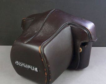 Olympus OM-1 OM-2 Original Brown Semi Hard Leather Camera Case